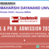 M.Phil & Ph.D. Admission Notice MDU Rohtak 2020-21 - Eligibility Criteria, Application Form & Procedure Important Dates